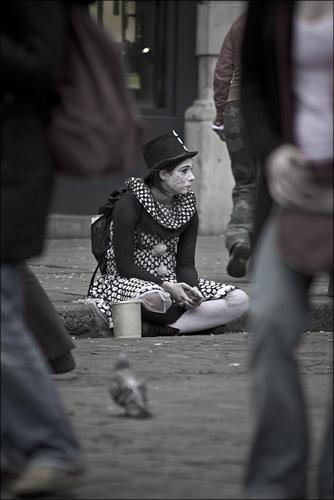 A glum clown at Covent Garden.