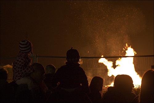 Watching the Mersea Island bonfire.
