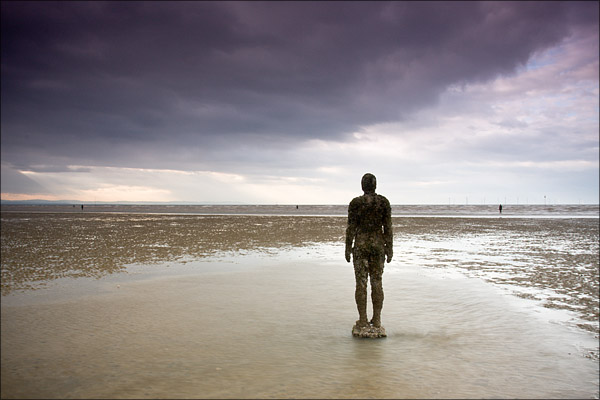 Antony Gormley statues on Crosby Beach.