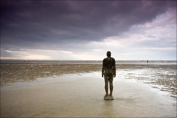 Antony Gormley statues on Crosby Beach.
