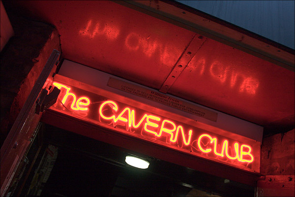 Bright lights of a nightclub with special history in Liverpool.