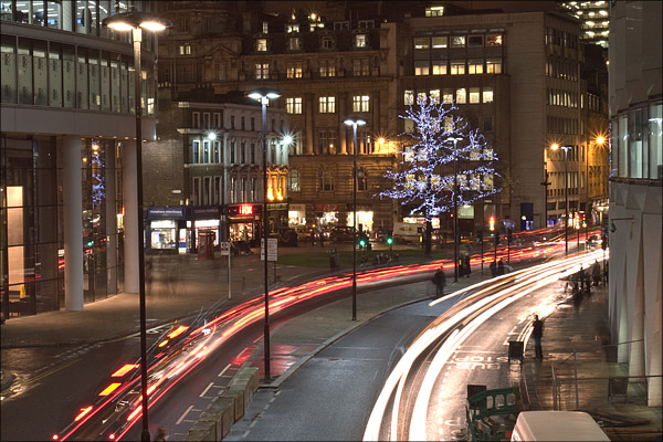 London Wall and a wrapping of lights.