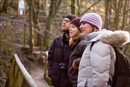 Sam, Patricia and Keryn watch the scampering Otters whining for their dinner.