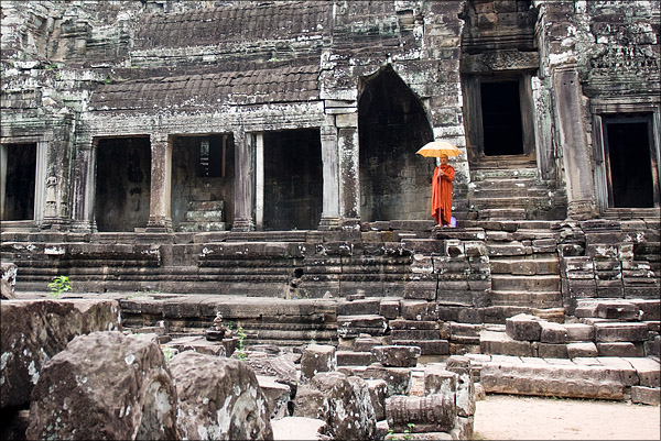 A monk at the Bayon Temple.