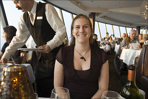 Keryn enjoys dinner at the 360 Restaurant.
