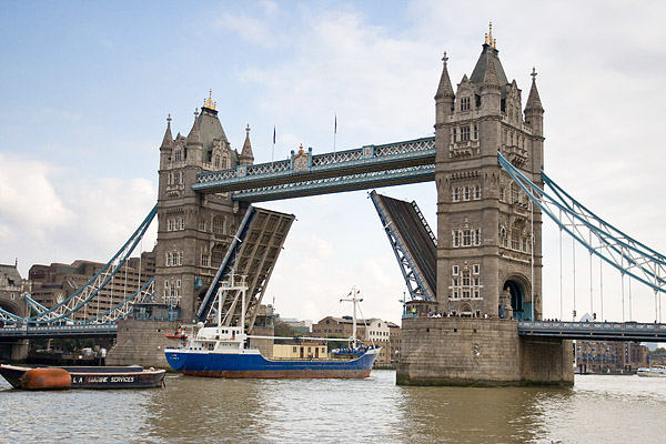 Passing downstream through Tower Bridge.