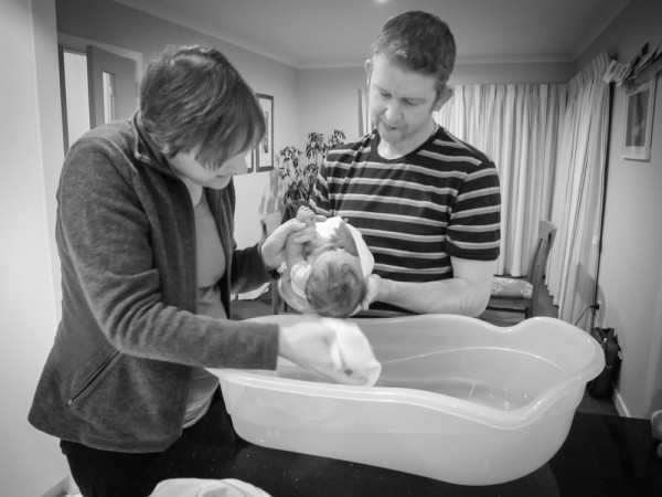 Alayna's first bath at home.