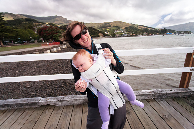A windy day at Akaroa for a 4 month old Alayna