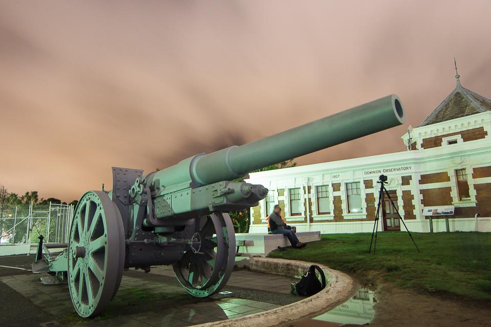 The gun at night