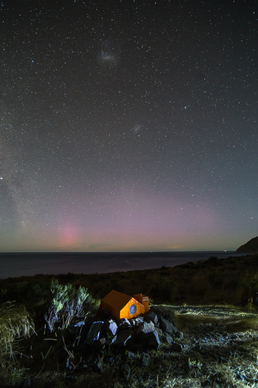 Robin Hut with a faint aurora