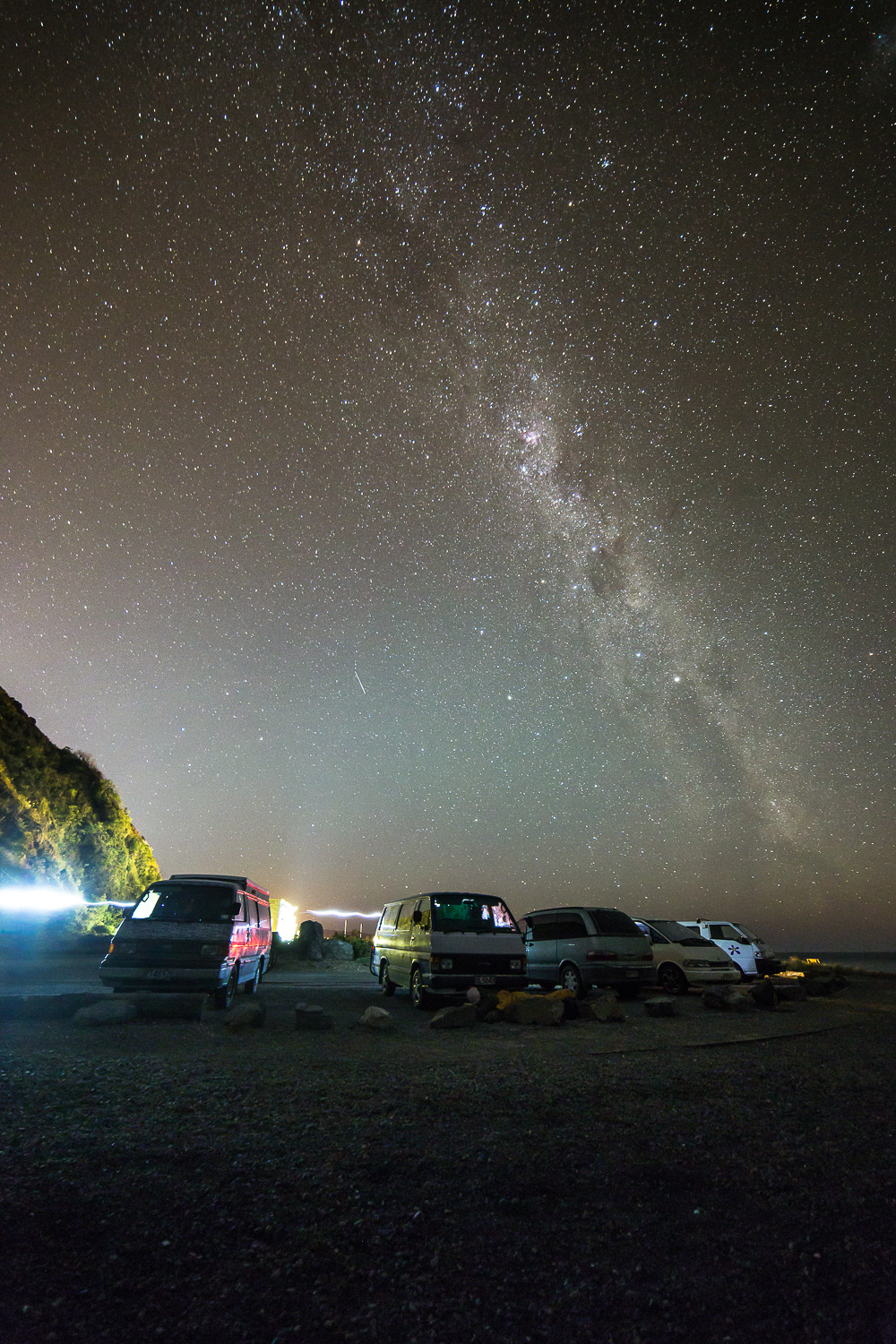 Freedom campers underneath the milky way