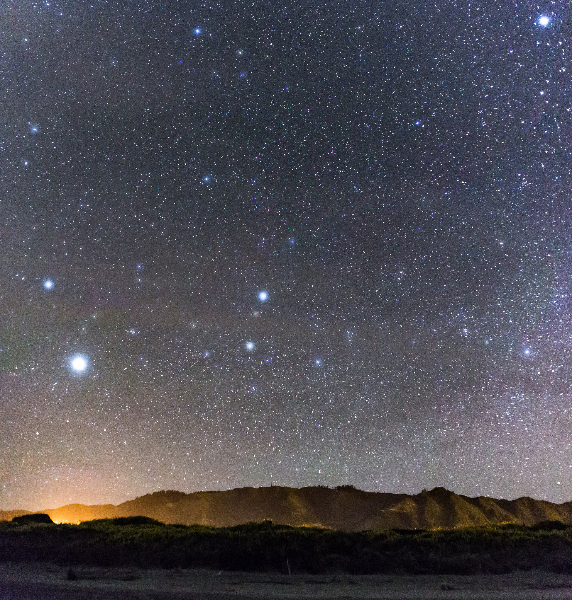 Stars over the Tararua's from Peka Peka beach