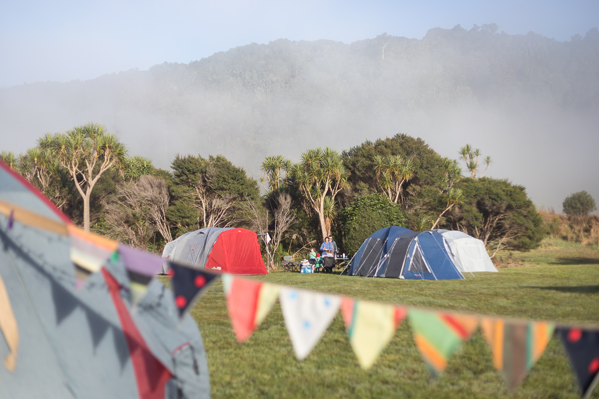 Misty morning camping