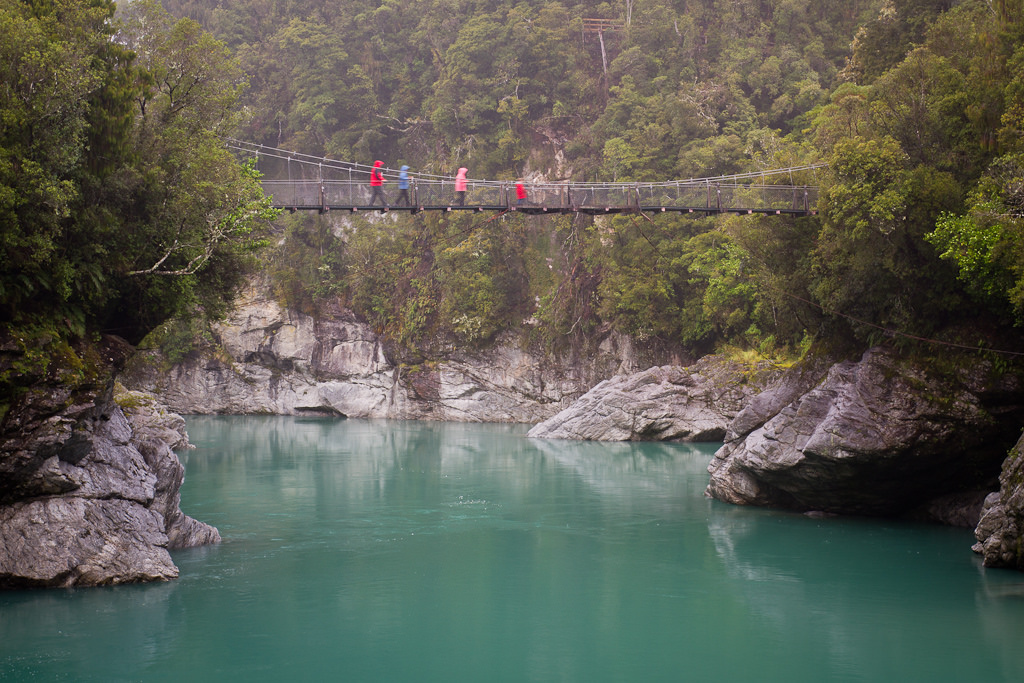 Crossing the bridge, Hokitika Gorge
