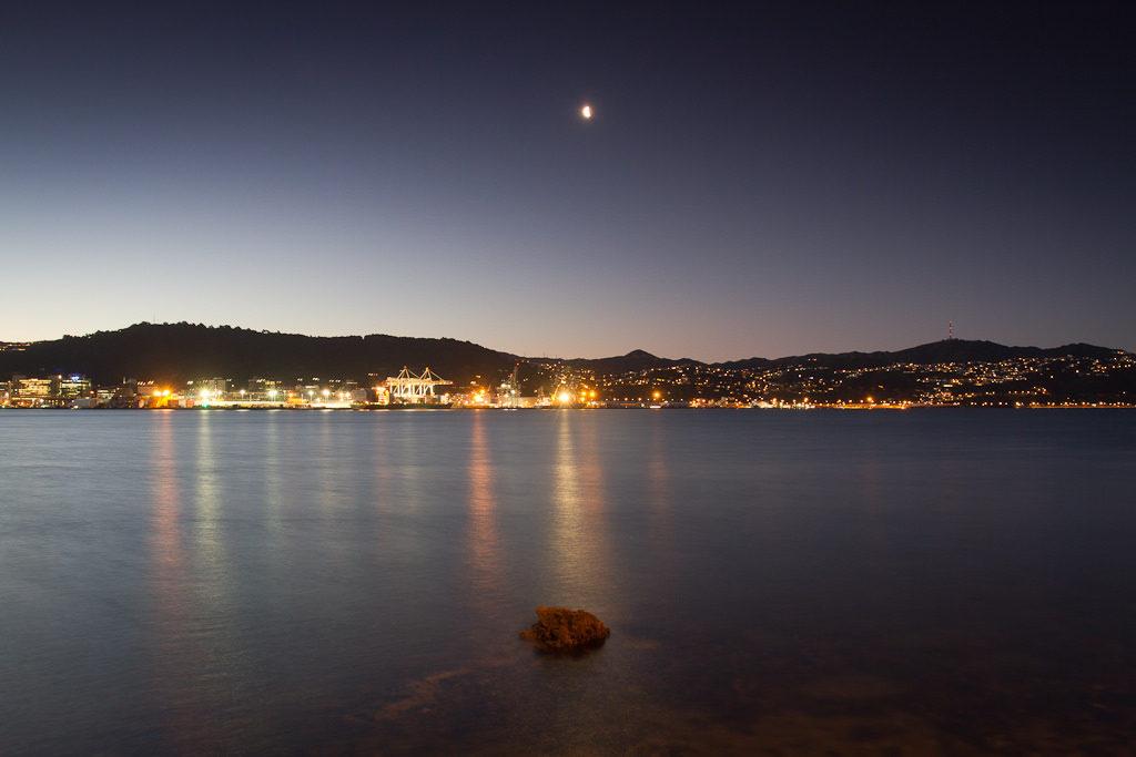 Dusk moon over Wellington