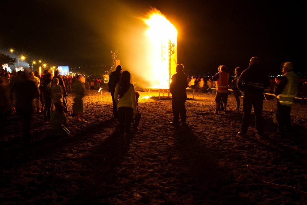 Fire sculpture on the beach
