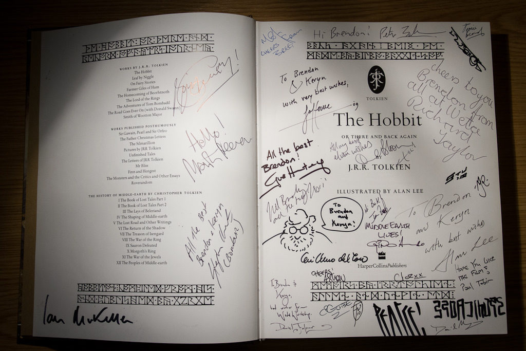 The Hobbit, signed by cast and crew