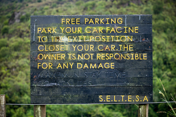 I don't think the parking direction matters if the volcano did happen to erupt...you wouldn't be able to drive away quickly enough anyway.