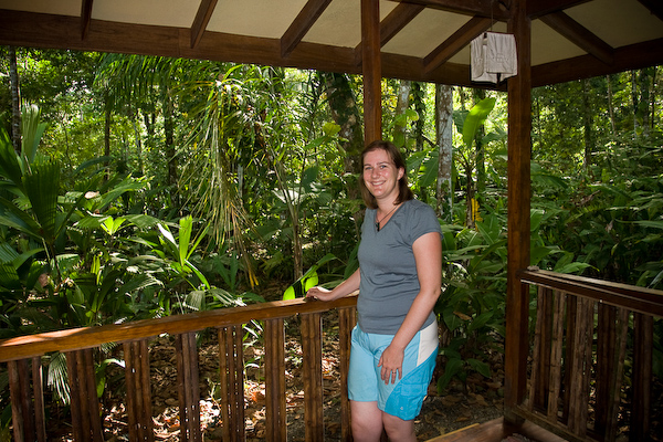 Keryn and the veranda of our house at Pachamama.