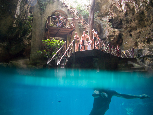 Experimenting with the camera in the first cenote
