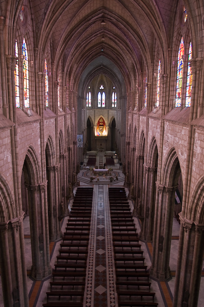 Looking down into the Basilica from the balcony