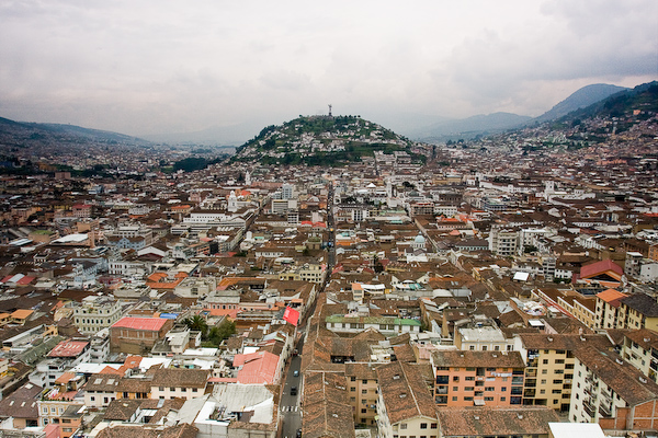 The view over the old town towards the Monumento a la Virgen de Quito