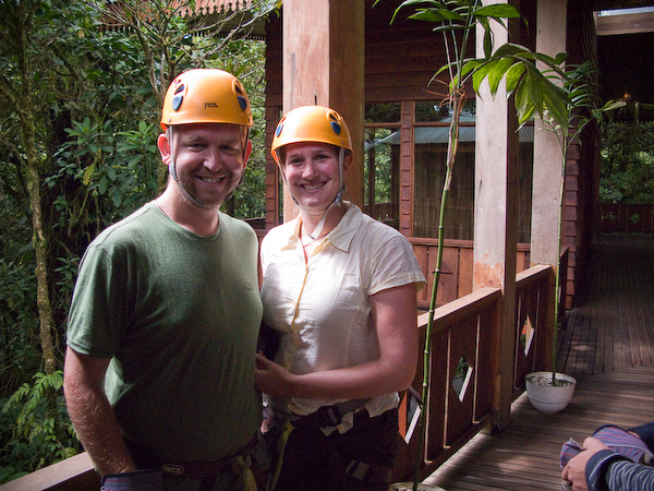 Keryn and I kitted out for zip lining.