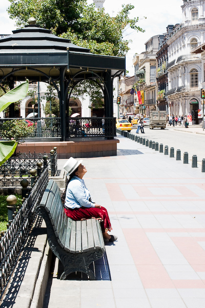 A local lady in the central plaza