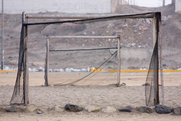 A football pitch on the beach