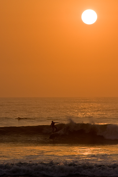 Sunset and surfing