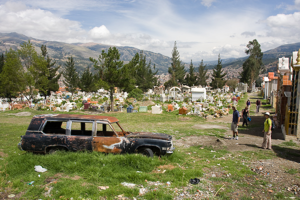 The cemetery with discarded hearse