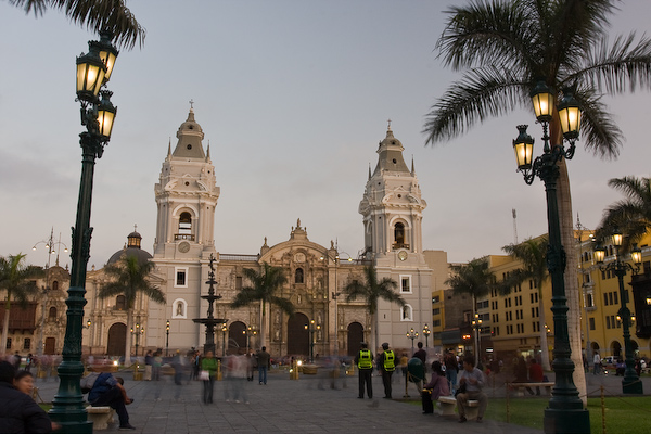 Looking to the Cathedral in the Plaza Major