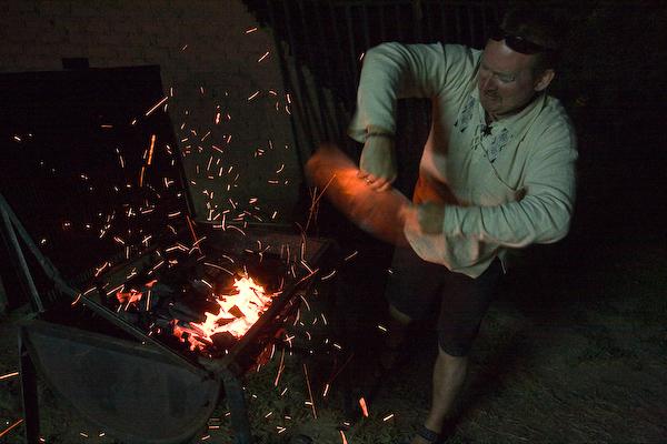 Danny fans the coals