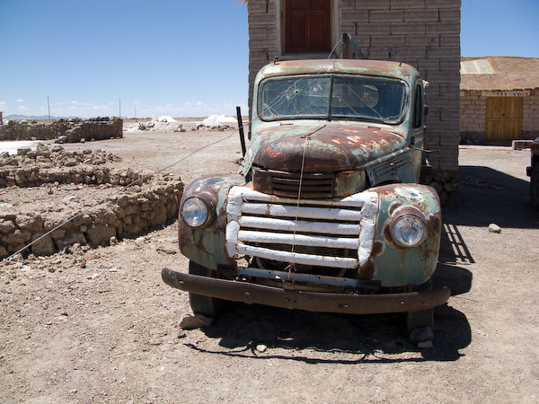 One of the beaten up old trucks