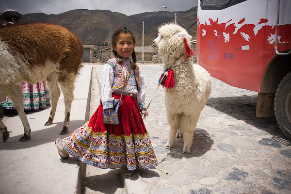 The daughter of one of the raptor owners with a small alpaca