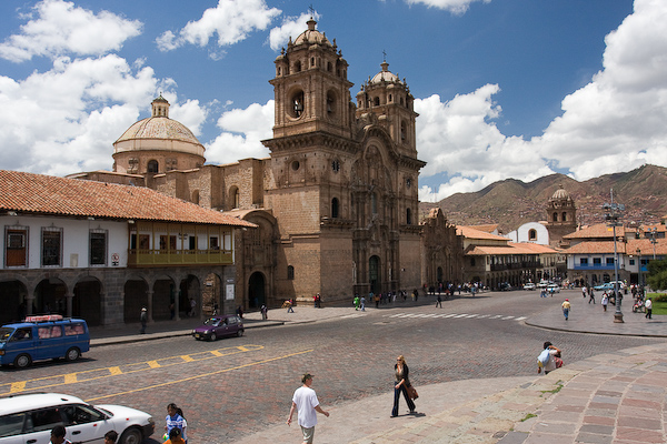 One side of the central square of Cusco