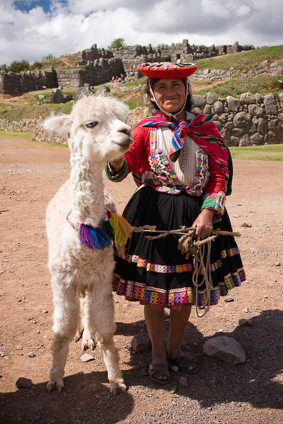 A woman with her llama