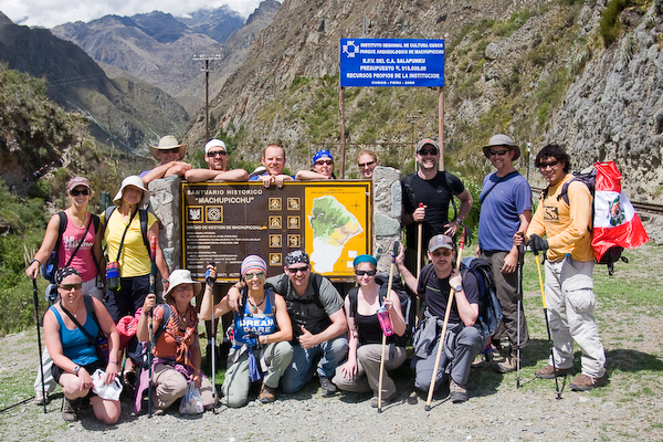 A group photo at the start of the Inca Trail