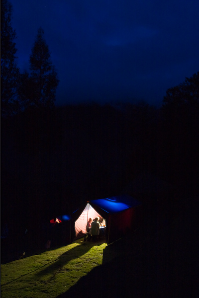 The dinner tent as night descends