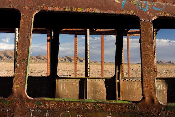 Looking through a derelict carriage