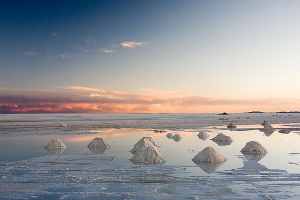 Sunset over the salt flats