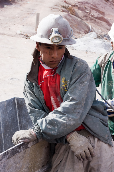 A miner waiting to enter the mine