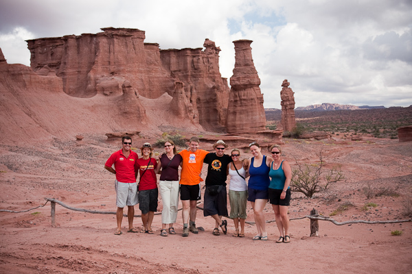 A group photo with the rock formations