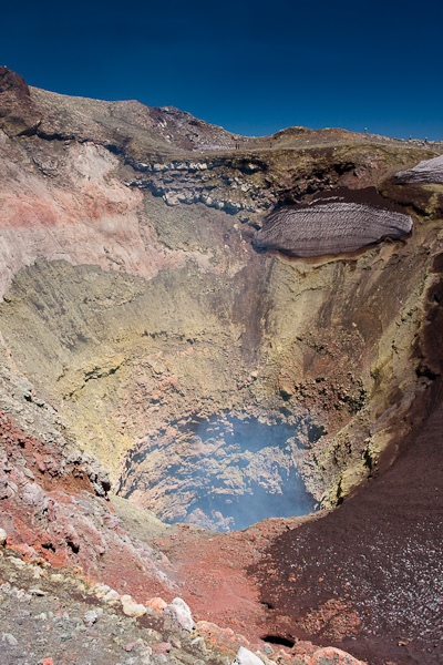 Looking down the crater