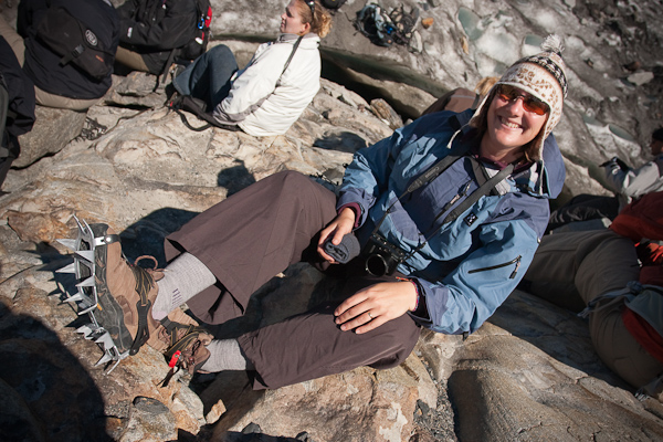 Keryn gets to grips with her crampons