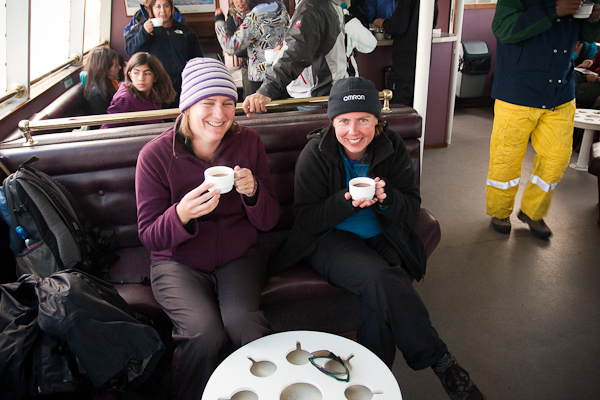 Keryn and Janet share a hot drink on the ferry