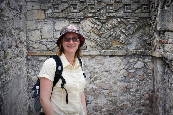Keryn in one of the rooms of the Templo de las Columnas