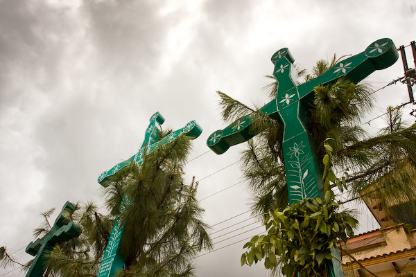 Crosses over the square