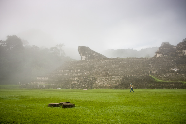 A misty morning at the ruind of Palenque