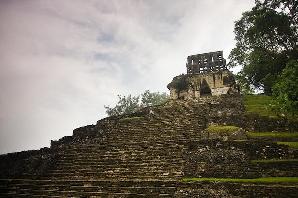 Keryn climbing the steps of Templo de la Cruz